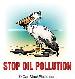 parada, ecológico, aceite, emblema, contaminación