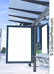 parada, em branco, billboard, autocarro