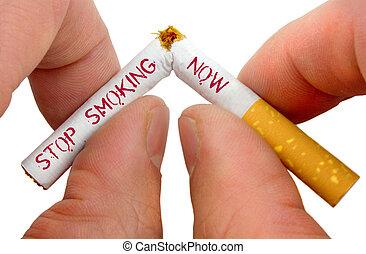 parada, fumar, ahora