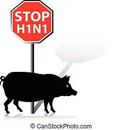 parada, gripe, cerdos, ilustración