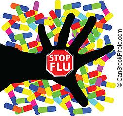 parada, gripe, ilustración
