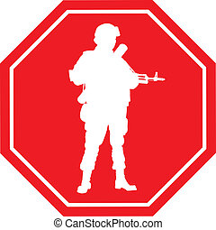 parada, guerra, sinal., vetorial