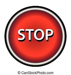 parada, icon., internet, botão, branco