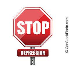 parada, ilustração, sinal, desenho, depressão, estrada