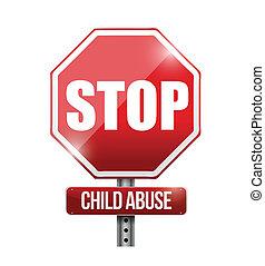 parada, ilustración, señal, abuso, niño, camino