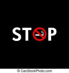parada, ilustración, señal, cigarrillo, fondo negro, fumar