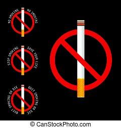 parada, ilustración, señal, fondo negro, fumar