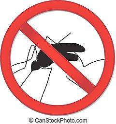 parada, ilustración, señal, mosquito., vector, mosquito, ...