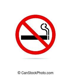 parada, ilustración, señal, plano de fondo, fumar, rojo blanco