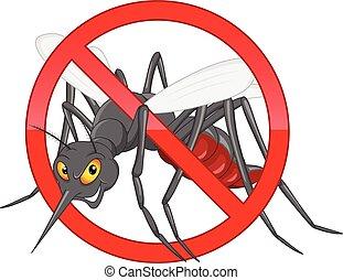 parada, mosquito, caricatura