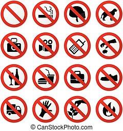 parada, não, proibido, sinal