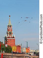 parada, na, mig-29, -, il-76, wojna, czerwony, 9, może, moskwa, samoloty, moskwa, 9:, mucha, wielki, skwer, spasskaya, 2010, honor, zwycięstwo, patriotyczny, wieża, tu-160, rosja