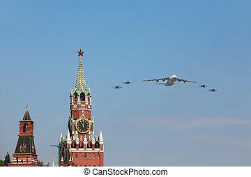 parada, na, su-27, -, 2010, czerwony, 9, może, moskwa, samoloty, moskwa, 9:, an-124, mucha, wielki, skwer, spasskaya, wojna, honor, zwycięstwo, patriotyczny, wieża, rosja