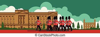 parada, pałac, chód, przód, buckingham, projektować, ...