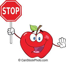 parada, personagem, maçã, segurando, sinal