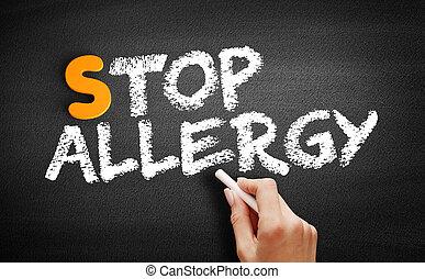 parada, pizarra, texto, alergia