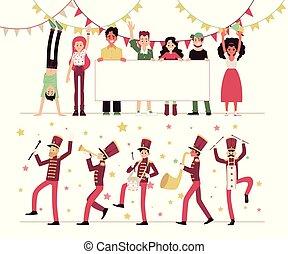 parada, poster., instrumentos, pessoas, band., em branco, demonstração, musical, marchar