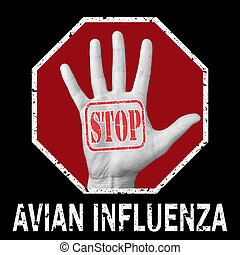 parada, problema, influenza., texto, aviar, global, mano ...