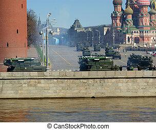 parada, russia., skwer, 2013, moskwa, może, 07, czerwony, wojskowy, powtórka