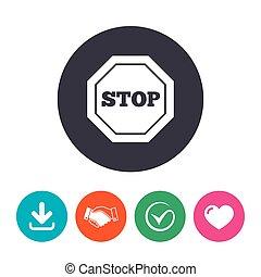 parada, símbolo., sinal, tráfego, cautela, icon.