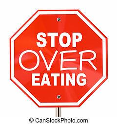 parada, sobre comer, señal, fin, obesidad, dieta, corte,...
