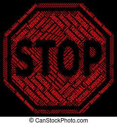 parada, suicida, pensamientos, exposiciones, attempted, suicidio, y, precaución