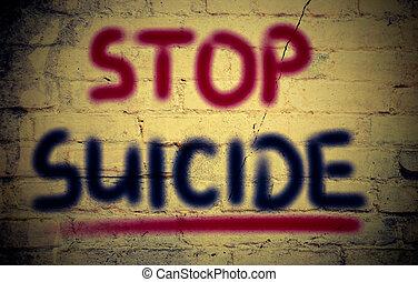parada, suicidio, concepto