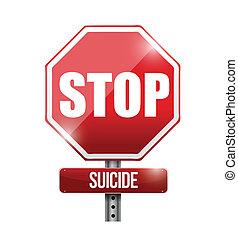 parada, suicidio, muestra del camino, ilustración, diseño