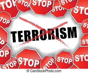 parada, terrorismo, conceito