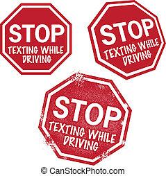 parada, texting, conducción, mientras