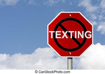 parada, texting, y, conducción