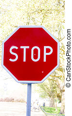parada, vermelho, sinal