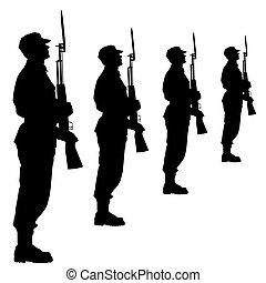 parade., シルエット, illustration., ベクトル, 兵士, 軍, の間