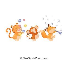 parade., abe, ræve, baggrund., vektor, illustration, hvid, cartoon, tiger