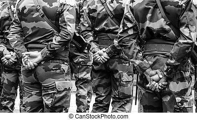 parade, deux, guerre, arrière, soldats, mondiale, tribut, jour, armistice, vue