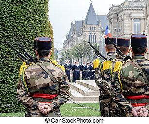 parade, mai, nous, france, drapeaux, soldats, 8ème
