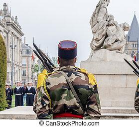 parade, mai, nous, france, soldat, noir, drapeaux, ethnicité, 8ème