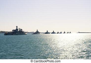 Parade military marine sea fleet of Russia on May, 9th, 2014...