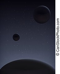 Parade of planets. Space landscape. - The cosmic landscape...