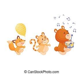 parade., ræv, bjørn, baggrund., vektor, illustration, hvid, cartoon, tiger