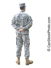 Parade rest soldier isolated