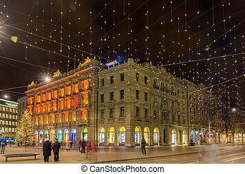 Paradeplatz and Bahnhofstrasse in Zurich decorated for...
