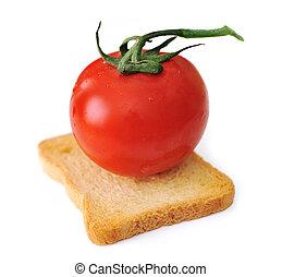 paradicsom, képben látható, szelet of kenyér, elszigetelt, tószt, vegetáriánus, növényi, gabonanemű