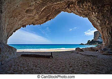 paradies, höhle, meer, blauer himmel, urlaub