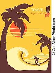 paradies, tropische , handflächen, insel, surfer