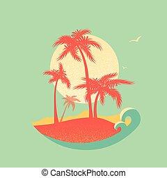 paradies, tropische , sonne, handflächen, insel, silhouette