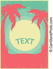 paradies, tropische , text, retro, hintergrund, horizont, poster., vektor