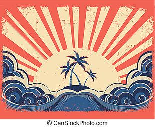 paradijs eiland, op, grunge, papier, achtergrond, met, zon