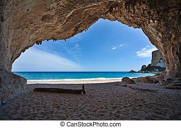 paradijs, grot, zee, blauwe hemel, vakantie