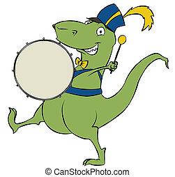 Parading Dinosaur - A marching cartoon dinosaur banging on...